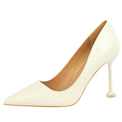 Carolbar Donna Sera Party Scarpe A Punta Sexy Stiletti Scarpe Off-white