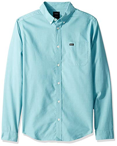 RVCA Men's Thatll DO Stretch Long Sleeve Button UP Shirt, nile Blue, M