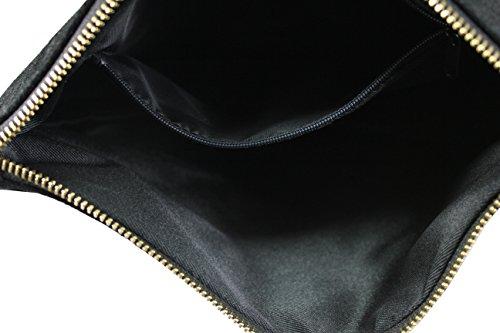 FERETI clutch tasche umhängetasche leder Schwarz mit Patches Glitzer Patch und quaste.