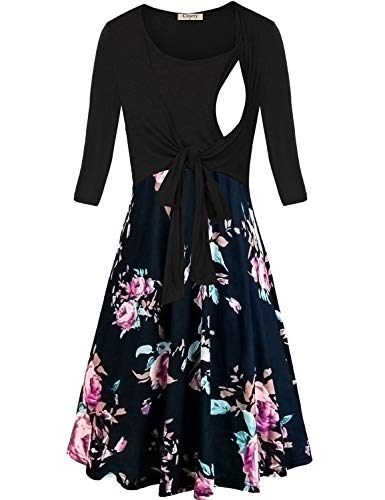 Cinery Womens 3/4 Sleeve Tie Front Floral Breastfeeding and Maternity Dresses