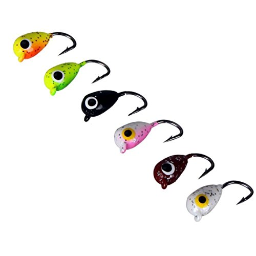 (Agordo 6Pcs Ice Fishing Jigs Tungsten Jig Winter Jigging Colors Fishing Lures Bait)