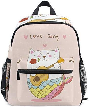 猫人魚ギターラブソング幼児就学前のバックパック本袋ミニショルダーバッグリュックサック通学用1-6年旅行男の子女の子