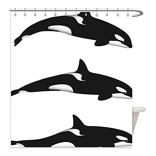 Liguo88 Custom Waterproof Bathroom Shower Curtain Polyester Sea Animals Decor Three Orca Killer Whalesin Different Illustration Black And White Decor Decorative bathroom - Easy Jeff The Killer Costume