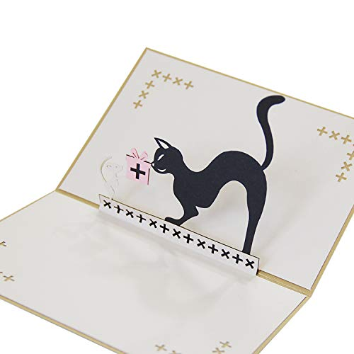 Jerry & Maggie - Pop Up Greeting Card - Black Cat Card 3D Paper Greeting Thank You Card Laser Anime Halloween Birthday Thanksgiving Animal For Kids Men Women