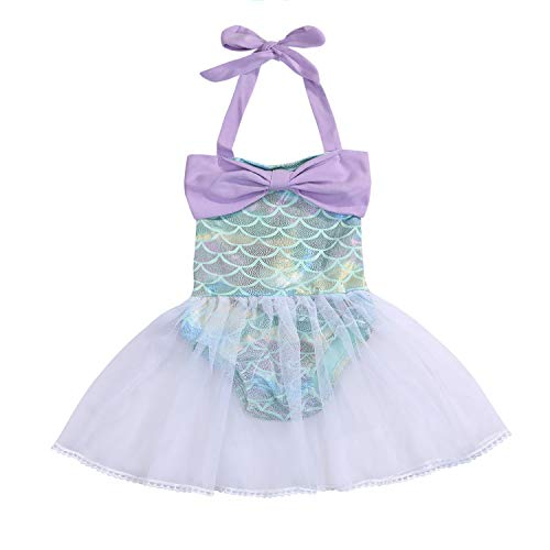 Kid Infant Baby Girls Mermaid Romper Outfit Bodysuit Jumpsuit Swimsuits Tutu Party Dress Skirt Summer Clothes Set (Mermaid, 9-12 Months) ()