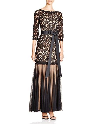 Tadashi Shoji Three-Quarter Sleeve Lace & Tulle Gown, Black & Nude, Size 16
