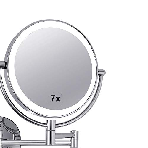 WUDHAO Wall-Mounted Vanity Mirrors Bathroom Wall-Mounted 8-inch LED Fill Light Mirror Double-Sided 7X Magnifying Mirror Lighted Makeup Mirror (Color : Silver, Size : 8 inches ()