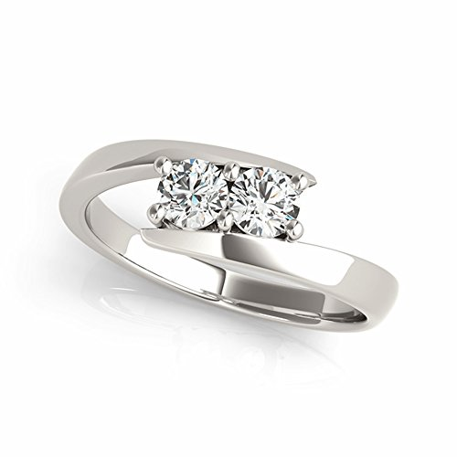 1/2 ctw 14K White Gold Two-Stone Forever Us Bypass Style Bridal Engagement Diamond Ring IGI USA Certified by JewelMore