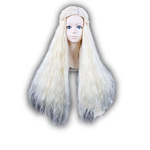 [COSPLAZA Cosplay Costume Wigs Barbarian Beige Blond Braids Long Wavy Hair] (Daenerys Targaryen Costume Hair)