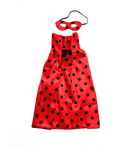 Mozlly Polka Dot Red Cape & Mask Hero Costume Eye Mask Set, 5 x 10 Inches One Size Fits Most Smooth & Soft Fabric for Cosplay Outfit Halloween Party Costume -