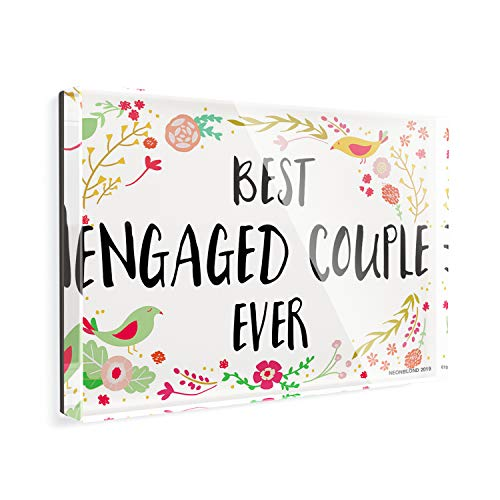 Acrylic Fridge Magnet Happy Floral Border Engaged Couple NEONBLOND