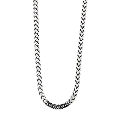 "Men's Solid Sterling Silver Rhodium Plated 2.60mm Franco Chain Necklace, 18"" 20"" 22"" 24"" 26"" 28"" 30"" 36"""