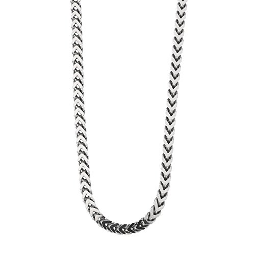 Men's Solid Sterling Silver Rhodium Plated 4mm Franco Chain Necklace, 26'' by Beauniq