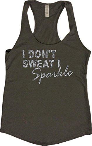 Orange Arrow Women's Glitter I Don't Sweat I Sparkle Tank (Medium, Charcoal) (Top Glitter Print)