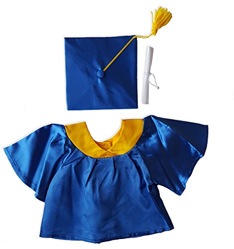 "Stuffems Toy Shop Blue Graduation Gown w/Hat and Scroll Outfit Teddy Bear Clothes Fits Most 14"" - 18"" Build-A-Bear, Vermont Teddy Bears, from Stuffems Toy Shop"