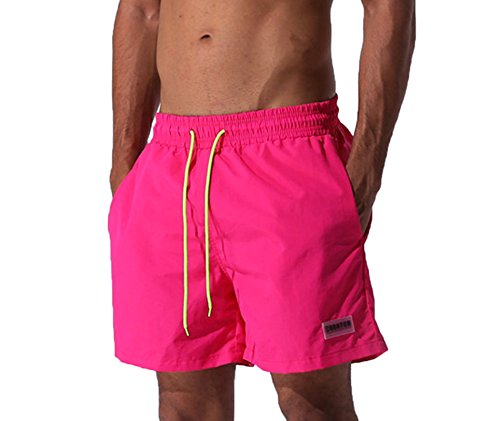 Elonglin Men's Quick-Drying Watershorts BoardShorts Breathable Waterproof Beach Shorts for Sports Running Surf Casual Pink Size US M(Asian XL)