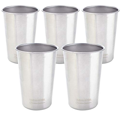 Pratico Outdoors Clean Steel Stainless Steel Cups - Multi-Purpose 16 oz Pint Glasses Made from BPA Free Premium 18/8 Electropolished SS Metal (Set of 5-473 ml)