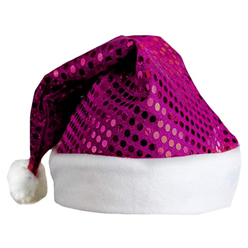 (MORYSONG Sequin Christmas Hat Adult Santa Claus Hats Costume Accessory Purple)