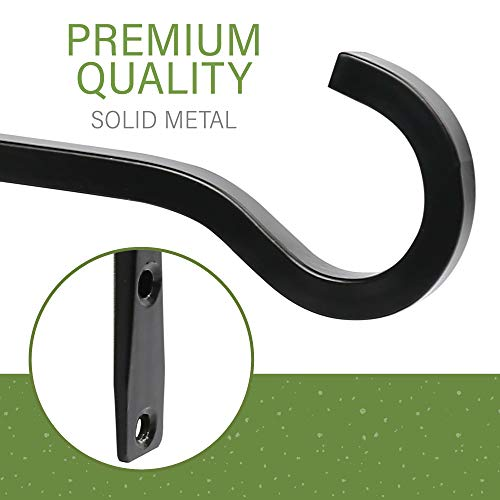LotFancy 2pc Wall Hooks for Hanging Plants Outdoors, 6 inch Black Iron Metal Hanger Bracket for Hanging Baskets Indoor, Lantern, Bird Feeders, Wind Chimes, Home Décor, with 2 Extra Small Hooks