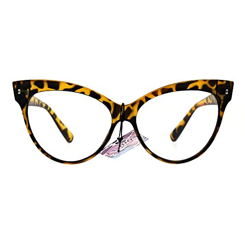 True Goth Cat Eye Clear Len Fashion Optical Eye Glasses Yellow Tortoise