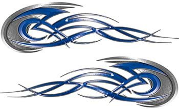 Weston Ink Reflective Tribal Flames Motorcycle Tank Decal Kit in Blue ()