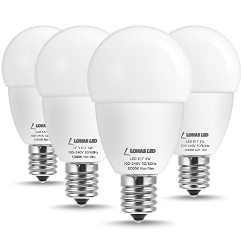 LOHAS E17 Intermediate Base Globe LED Light Bulb, 5000K Daylight White, 6W(40W Equivalent) G45 Bulb, Brightness 550LM Lights E17 Base, Round Shape, Candelabra Light Bulb for Ceiling Fan, 4 Pack