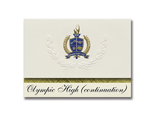 (Signature Announcements Olympic High (continuation) (Santa Monica, CA) Graduation Announcements, Presidential style, Elite package of 25 with Gold & Blue Metallic Foil)