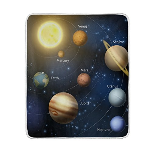 Solar System Blanket Luxury Throw Personalized Stylish Fuzzy Soft Warm Lightweight Blanket for Bed Counch All Season Unisex Adult Men Women Boys Girls 50x60 inches (Personalized Childrens Throw Blanket)