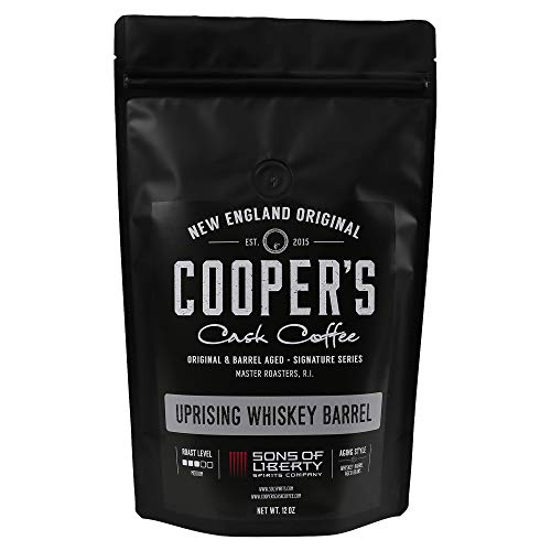 Single-Malt Whiskey Barrel Aged Coffee - Single Origin Sumatra Coffee Beans Aged in Stout Whiskey Barrels - UPRISING- 12 oz Bags, Whole Coffee - Crown Cask Royal