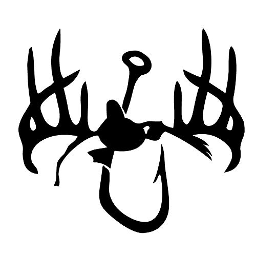 Hunting Fishing Decal Hunting and Fishing Decorations 1243 by Waterfowldecals (Medium, White) ()