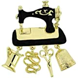 Brooches Store Gold and Black Enamel Sewing Machine Brooch