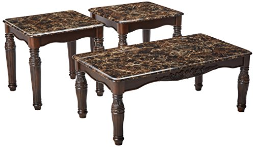 Asian Style Furniture - Ashley Furniture Signature Design - North Shore Occasional Table Set - End Tables and Coffee Table - 3 Piece - Rectangular - Dark Brown with Faux Marble Top