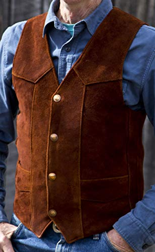 (Tobacco Suede Elkskin Classic Leather Vest )