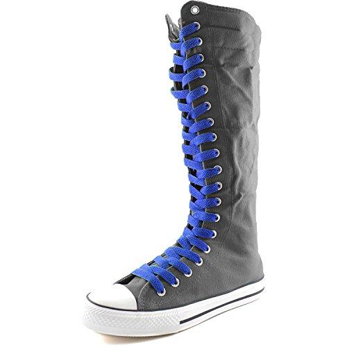 Damestas Womens Canvas Mid Kalf Lange Laarzen Casual Sneaker Punk Flat, Koningsblauw Grijze Laarzen, Koningsblauw Kant