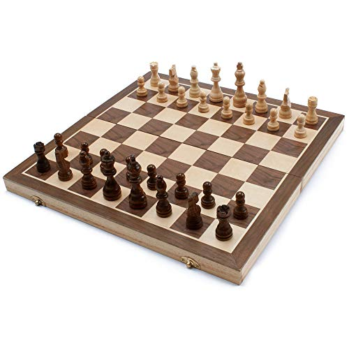 - 15-Inch Classic Magnetic Folding Wooden Chess Set with Chess Pieces and Storage Slots