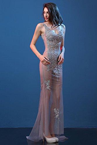 Abendkleider Emily V Spitze Through Arm Ausschnitt Ohne Beauty Grau Tailing See wzOSgZOq