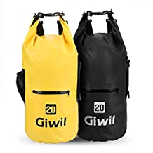 Giwil 10L 20L 30L Premium Waterproof dry Bag, Roll Top Dry Compression Sack with Waterproof Phone dry Bag Case and Dual Long Adjustable Shoulder Strap Included Foldable Backpack for Kayaking Boating Canoeing