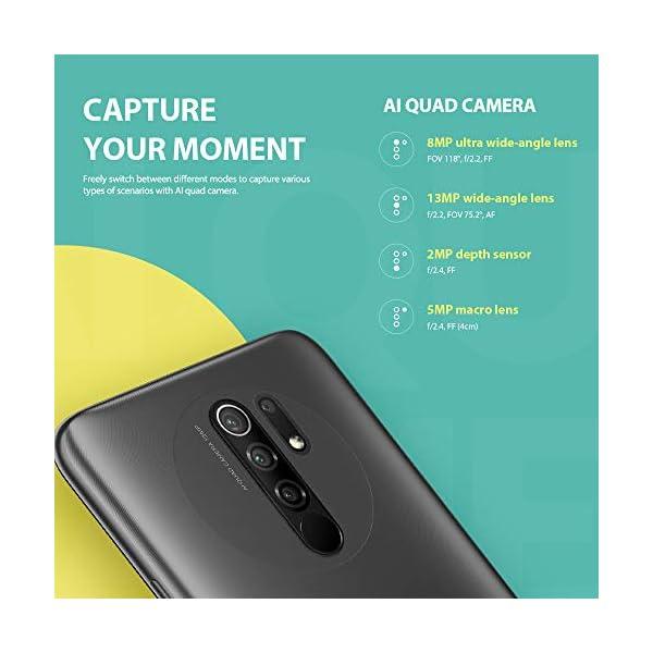 Xiaomi Redmi 9 Smartphone 4Gb Ram 64Gb Rom Teléfono Móvil,6.53″ Pantalla Dot Drop Completa Helio G80 Procesador,Dual sim Type-C,Cámara Cuádruple(13Mp+8Mp+5Mp+2Mp) Versión Global(Gris)