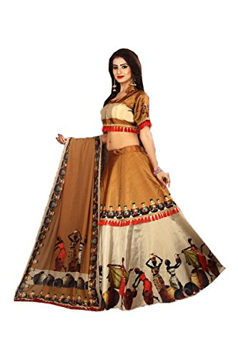Indian Designer Partywear Ethnic Traditional Chiku Cream Lehenga Choli by Indianfashion Store