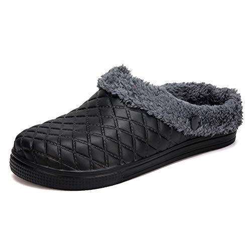 - HMAIBO Lined Garden Clogs Shoes Slip On Fur Lined Warm Winter Slippers Breathable Lightweight Walking Kitchen Work Mules Indoor Outdoor House Slippers Black 38