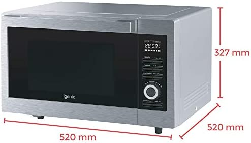 Igenix IG3095 Digital Combination Microwave with Grill and Convection, 1000 W, 30 Litre Capacity, Fry and Crispy Grill Function, Oven Style Pull Down Door, Stainless Steel Trim