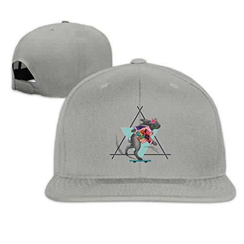 (Funny Running Racing Skid Bunny Rabbit Flower Adjustable Cotton Hat Unisex Hip Hop Baseball Caps Gray)