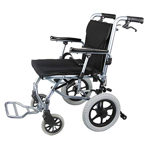Wheelchair- Aluminum Alloy Manual Wheelchair Lightweight Folding Portable Elderly Ultra-Light Trolley Home Elderly Scooter (Color : Black, Size : -