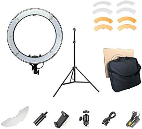 DelongKe LED Ring Light Dimmable Mini LED Camera Light for Smartphone YouTube Self-Portrait Video Shooting Etc ,Pink 18In