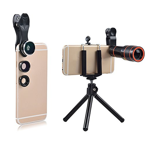 Cellphone lens kits, Fish Eye Lens,Wide Angle Lens,Macro Lens (4 in1 telephoto) by YIERMA