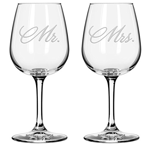 - National Etching Mr and Mrs Wine Glasses, Set of 2