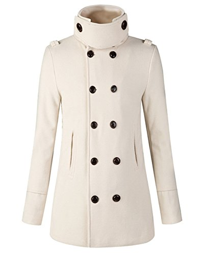 Blend Jacket Ivory Wool (S&S Men Slim Fashion Solid Stand Collar Double Breasted Wool Blend Pea Coat)