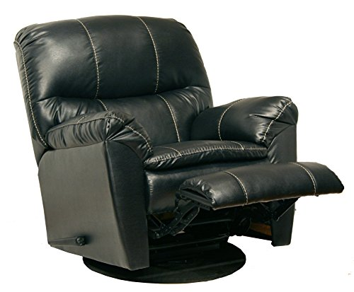 Catnapper 4415512038 Cosmo Bonded Leather Swivel Glider Recliner, Black