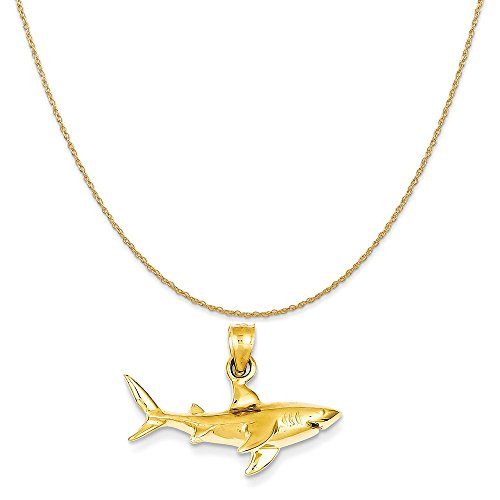 Mireval 14k Yellow Gold Shark Pendant on a 14K Yellow Gold Rope Chain Necklace, 18
