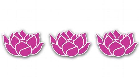 Lotus Flowers Set of 3 Pink Vinyl Sticker - Car Phone Helmet - SELECT SIZE